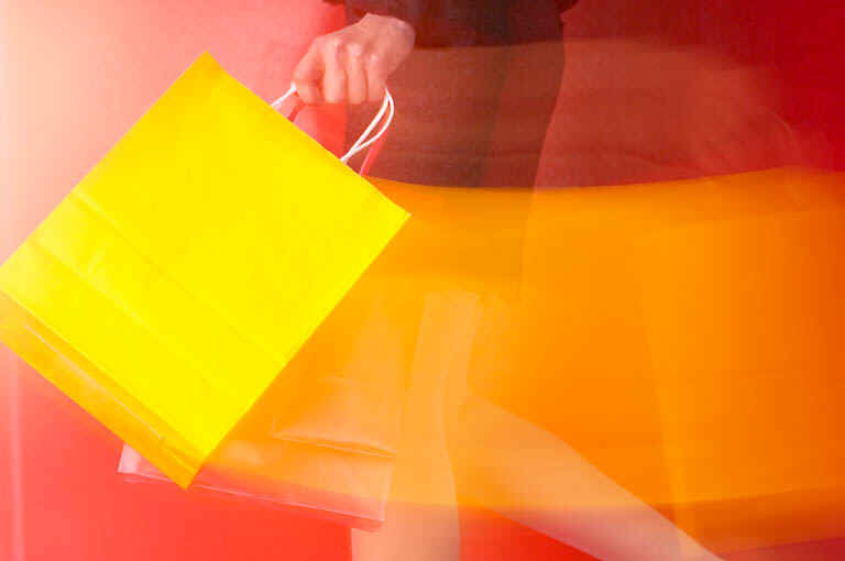 Swinging Yellow Shopping Bag